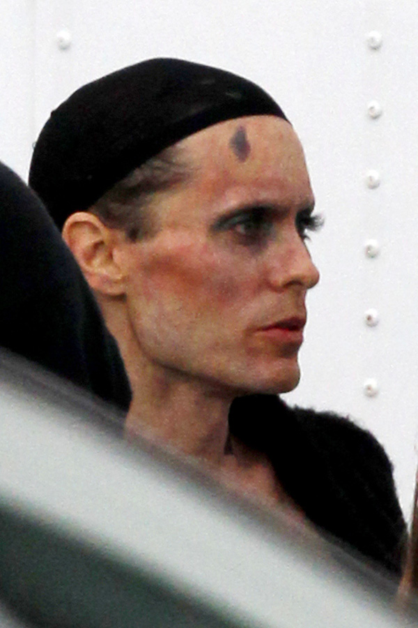 **EXCLUSIVE** Jared Leto dresses in drag and has makeup on his body resembling a common AIDS related illness