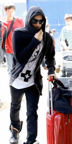 Actor Jared Leto, who has grown a beard, spotted at LAX Airport in Los Angeles, CA