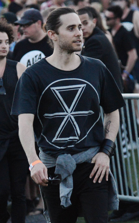 Actor Jared Leto enjoys day 1 of the Coachella Music Festival in Indio, Ca